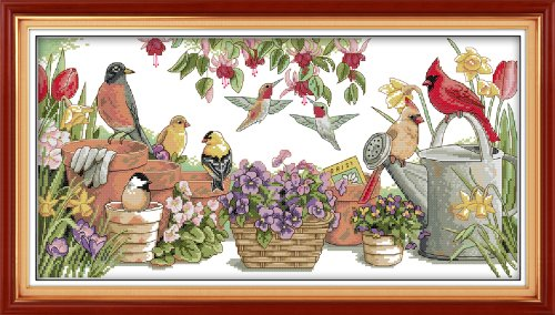 Cross Stitch Counted Kits Stamped Kit Cross-Stitching Pattern for Home Decor, 11CT Pre-Printed Fabric Embroidery Crafts Needlepoint Kit (Printed Kits,Birds Gather in Garden)