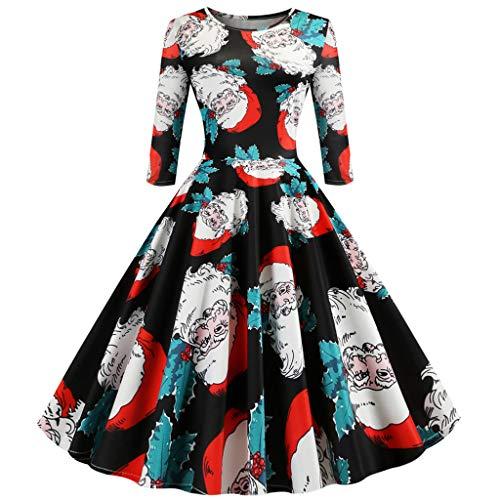 Alikeey Damesjurk, avondjurk, vintage, 1950 'S, Audrey Hepburn, Pin-Up, Kerstmis, bedrukt, lange mouwen, bedrukt, voor kleding Womens Christmas Party Dress Ladies