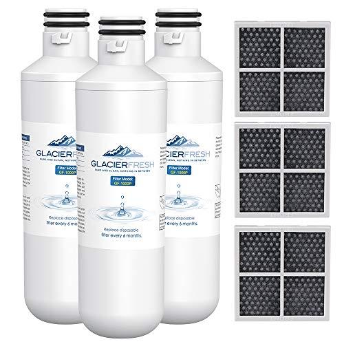 GLACIER FRESH LT1000PC Replacement Water Filter, Compatible with LT1000PC/PCS, LT1000PC, LT-1000PC, MDJ64844601, ADQ747935 ADQ74793504 Water Filter and LT120F ADQ73334008 Fresh Air Filter 3 Pack