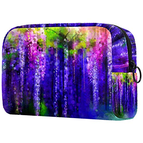 Cosmetic Bag Womens Makeup Bag for Travel to Carry Cosmetics Change Keys etc,Abstract Violet Red and Yellow Flowers Watercolor Pattern