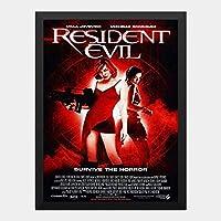 ハンギングペインティング - バイオハザード Resident Evilのポスター 黒フォトフレーム、ファッション絵画、壁飾り、家族壁画装飾 サイズ:33x24cm(額縁を送る)