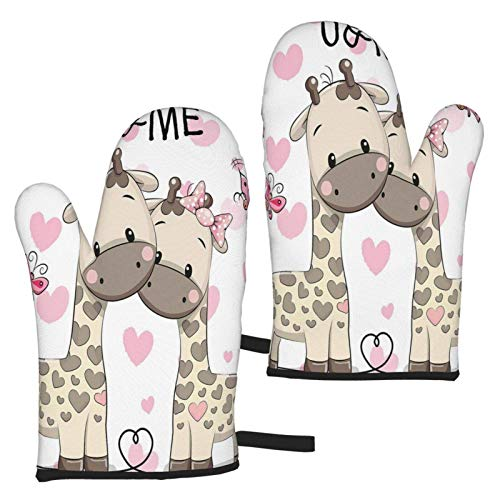 Guantes de microondas You&Me Giraffes Baby in Pure Love Oven Mitts Set of 2 Heat Resistant Non-Slip Microwave Gloves for Kitchen Cooking BBQ Baking Grilling