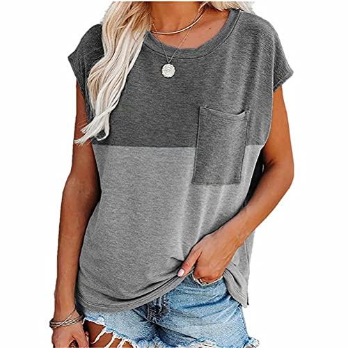 ZFQQ Camiseta Holgada de Manga Corta Estampada con Bolsillo de Verano para Mujer