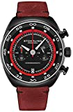 Stuhrling Original Mens Watches - Chronograph Wrist Watch with Date and Genuine Red Leather Strap Stainless Steel Watch with Tachymeter 24-Hour Subdial - Analog Dress Watches for Men