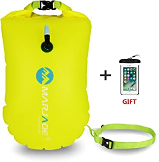 Jansite Swim Buoy 28L with Dry Bag and Waterproof Phone Case, Open Water Inflatable Swim Bubble Float for Swimmers, Triathletes, Snorkelers, and Safe Swim …