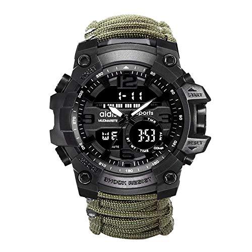 Survival Emergency Survival-Armband, Herren- Und Damenuhr Mit/Feuerstarter/Kompass und Thermometeruhr, Multifunktionale Kalorienzähleruhr Für Outdoor-Ausrüstung #SB002