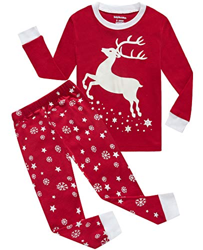 Girls Pajamas Reindeer Glow-in-The-Dark Christmas Kids Pjs Cotton Toddler Clothes Size 4T Red
