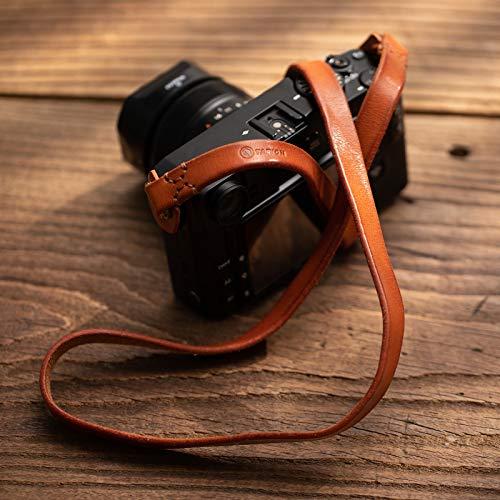 TARION カメラストラップ 本革 ショルダー ストラップ レザーストラップ リング式 一眼レフ ミラーレスカメラなどに適用 ブラウン