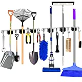 2 Pack Mop and Broom Holder Wall Mount, Kitchen and Bathroom Household -Garden Garage Metal Tool Storage Rack Weighs 30 Pounds, with 3 Broom Racks and 4 Hooks