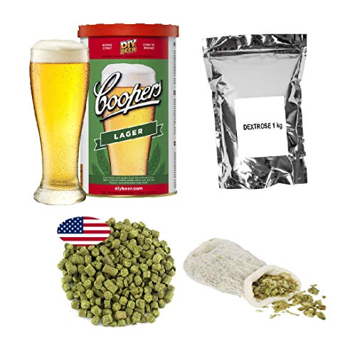 Brew Kit – Coopers Lager con dextrosa 1 kg + pellets de lúpulo - Cascada 25g + bolsa de muselina
