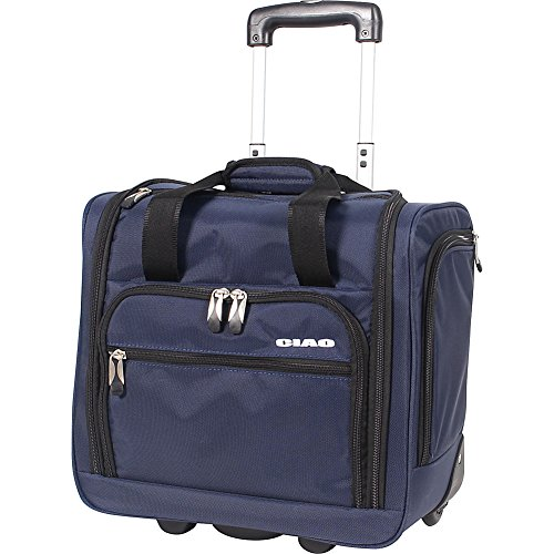 Ciao Underseat Luggage Collection - Small Lightweight 15 Inch Under Seat Bag - Briefcase for Men & Women - Carry On Suitcase with 2- Rolling Spinner Wheels (Navy)