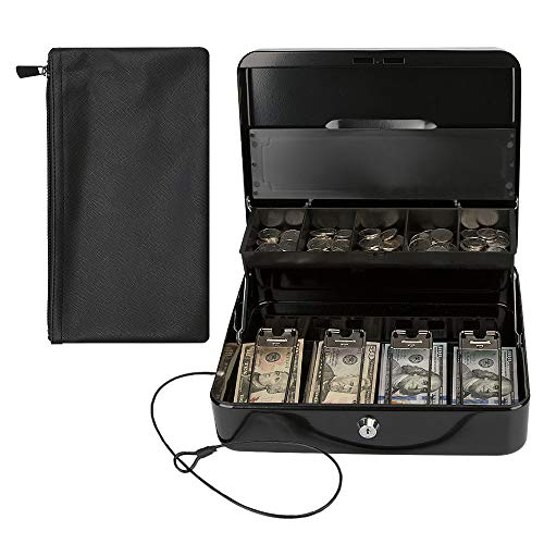KYODOLED Locking Cash Box with Key Lock,Money Box Bound with Waterproof Coin Bag,Security Metal Money Lock Box with Cash Tray,Safe Box for Money
