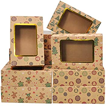 """24 Foiled Christmas Cookie Boxes with Window Treat Boxes for Doughnut and Cookie Brown Kraft Bakery Boxes with 3 Designs Xmas Cookie Gift Baking Box 8.75  x 5.6  x 2.75"""" for Pastries Cupcakes"""