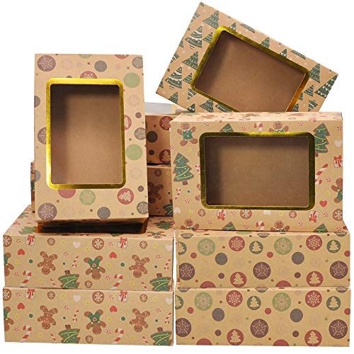"24 Foiled Christmas Cookie Boxes with Window, Treat Boxes for Doughnut and Cookie, Brown Kraft Bakery Boxes with 3 Designs, Xmas Cookie Gift Baking Box 8.75' x 5.6' x 2.75"" for Pastries, Cupcakes"