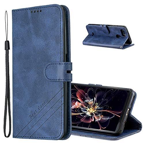 MRSTER Hülle für Xiaomi Redmi 6A, Vintage Dünne Handyhülle mit Standfunktion Kartenfächern Premium PU-Leder Tasche Flip Schutzhülle Kompatibel mit Xiaomi Redmi 6A. HX Retro Blue
