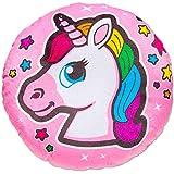 TE-Trend Magic Unicorno Arcobaleno Unicorno Motivo Peluche Cuscino Decorativo Cuscino Morbido Ragazze Bambini Rotondo 34cm Multicolore - Rosa Testa