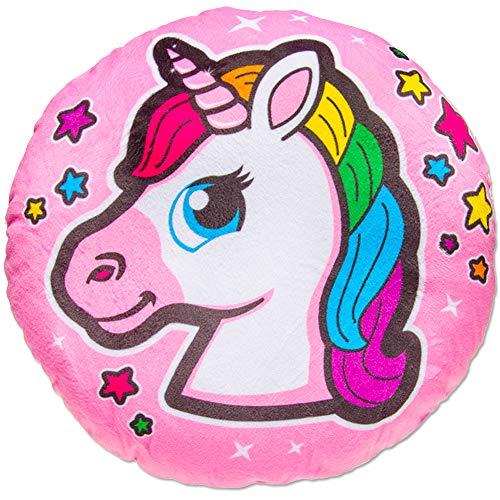 TE-Trend Magic Unicorno Arcobaleno Unicorno Motivo Peluche Cuscino Cuscino Decorativo Cuscino Morbido Ragazze Bambini Tondo 34cm Multicolore - Rosa Testa