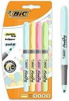 BIC Highlighter Grip Pastel Fosforlu Kalem, Kesik Uçlu, Farklı Renklerde, 4'lü Paket