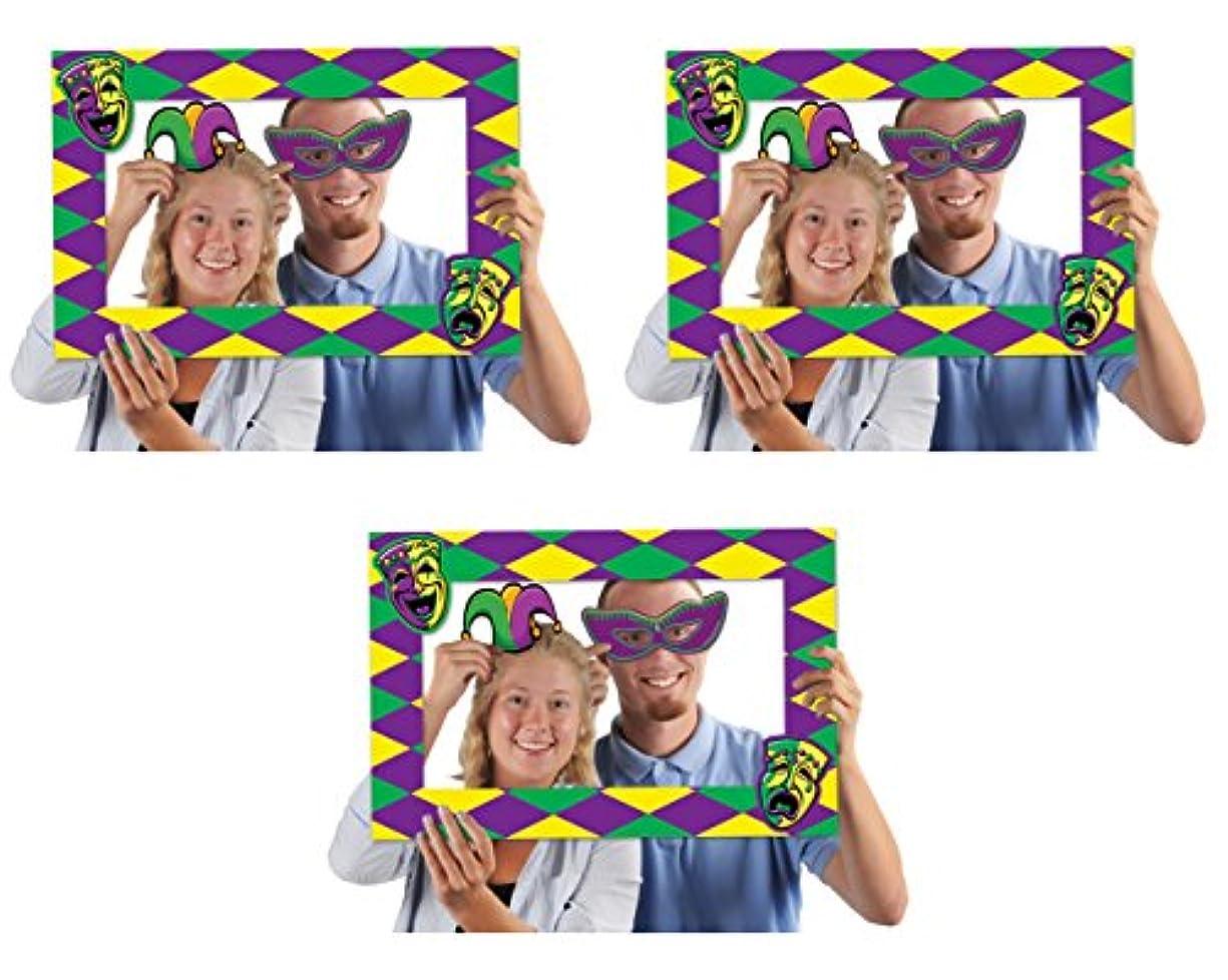 Beistle 52174, 3 Piece Mardi Gras Photo Fun Frames, 15.5