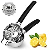 304 Stainless Steel Lemon Squeezer, Manual Fruit Juicer for Lemons Limes Citrus Oranges, Metal Lemon Lime Press with 3.34 Inch Large Bowl and Silicone Handle, Large Handheld Citrus Press Juicer Lime Squeezer