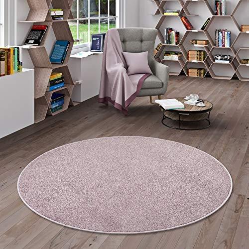Snapstyle Hochflor Velours Teppich Luna Mix Altrosa Rund in 7 Größen
