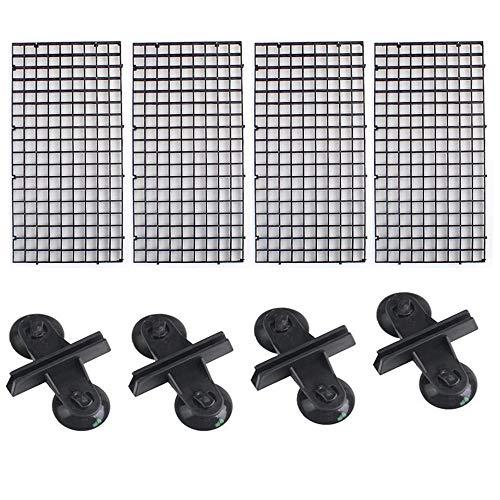 4 Piezas Bandeja Separadora para Acuario,Tablero de Segregación con Abrazaderas para Acuario Bandeja de Separador de Acuario (Negro)