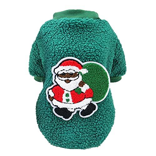 wojonifuiliy Hundepullover Weihnachten für Kleine Hunde - Hunde Katze Warme Fleece Weihnachtshaustierkleidung Winter Welpen Haustiermantel Weiche Pullover Kleidung für Christmas (Grün, XL)