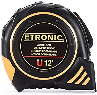 Etronic 12-Foot-by-5/8-Inch Tape Measure (Auto Lock, Magnetic Hook, Double Sided Blade, Nylon Bond Blade)