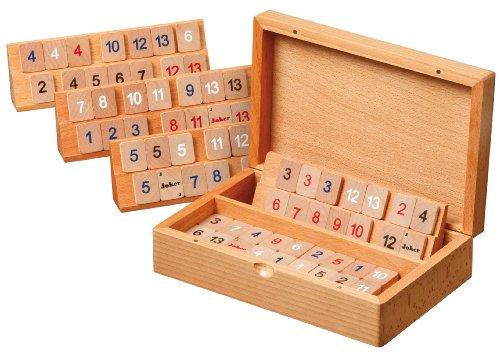 Philos 3608 - Rummy, houten cassette, klein, magneetsluiting, strategiespel