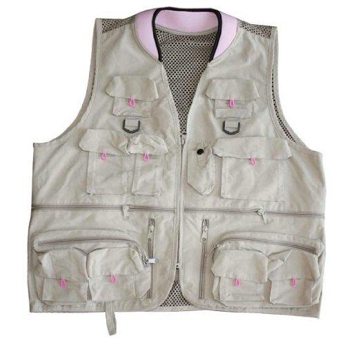 Master Sportsman Women's Alpine Fishing Vest (Khaki/Pink, Large)