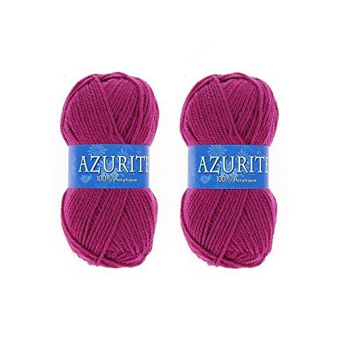 Lot 2 Pelotes de laine Azurite 100% Acrylique Tricot Crochet Tricoter - Framboise - 0283