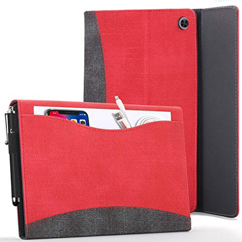 Forefront Cases Cover for Lenovo Tab M10 HD 2020 - Portfolio Lenovo Tab M10 HD Case Stand with Document Pocket - Red - Smart Auto Sleep-Wake, Lenovo Tab M10 HD (2nd Gen) 2020 Case, Cover