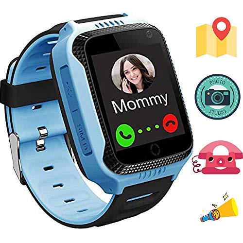1.44 pollici touch Kids GPS Tracker Smart Watch con la macchina fotografica sim chiamata anti-perdido SOS,Electronic Fence Localizzatore Tracker GPS bambini con GPS + Stazione base M05 Blu