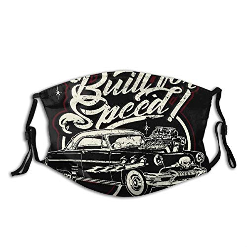 COVASA Face Cover Rockabilly Cartoon Retro Hot Rod American Antique Car Classic Cool Coupe Engine Balaclava Unisex Reusable Windproof Anti-Dust Mouth Bandanas Outdoor Camping Motorcycle Running