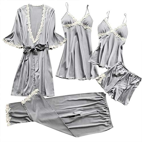 SY-Alisa Women Sexy Lace Lingerie Outfit Clothes Babydoll Pajamas Dress 5 Piece...