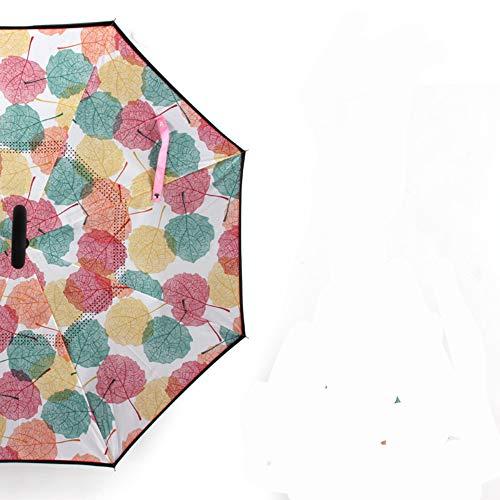 YYouRuiFashion invertido Coche inversor Paraguas Paraguas Polo Recto Paraguas Doble Polo Recto Paraguas ✅