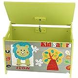 Bieco 74004813 – Spielzeugtruhe und Sitzbank in einem, Motiv Safari, ca. 60 x 40 x 37 cm - 4