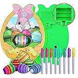 Kit di decorazioni per uova di Pasqua, pittura a uovo Macchina da colorare per tintura Giocattolo Uova fai-da-te con luce e musica 8 pennarelli 6 uova di Pasqua in plastica Regalo