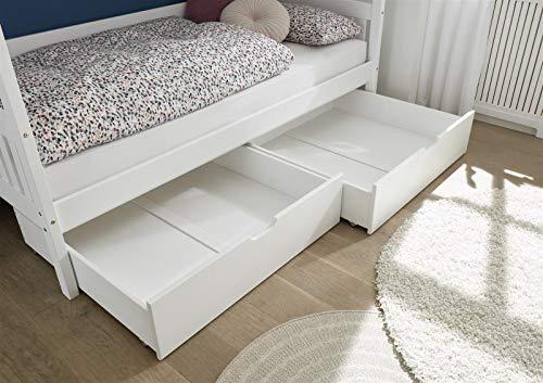 möbelando Kinderbett Jugendbett Bett Kinder Bett-Schubkasten Universal I 2er Set Weiß