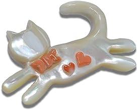 【にゃんこな日々】 ネコ ハート リボン付き ブローチ 夜光貝 & 天然珊瑚