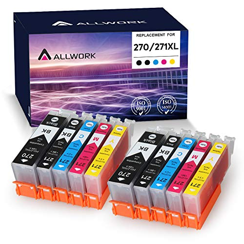 Allwork PGI270XL CLI271XL Compatible Ink Cartridges Replacement for Canon PGI-270XL CLI-271XL Works with Canon PIXMA TS6020 9020 5020 8020 MG7720 6821 5720 6820 5722 6800 5700 6822 5721 10 Pack