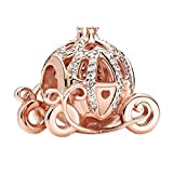 Annmors Carrozza delle zucche di Cenerentola Disney Bead Charm Donna argento Ciondolo a forma di, in argento Sterling 925, compatibile con braccialetti e collane europei