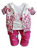 Chinatera Bébé Fille Sweat-shirt en 3 PCS Veste + T-Shirt Manches Longues + Pantalon (100 (24-36mois), Rose)