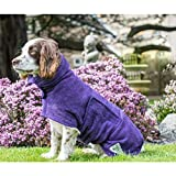 Dog Drying Coat Robe Towel, Dog Bathrobe, Absorb Moisture and Dry Pet Quickly, Puppy towelling Bathing Accessories - 51cm Back Length for Medium Dog