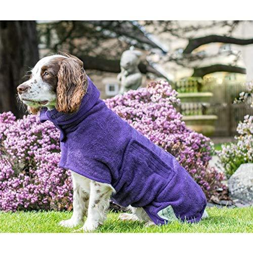 Badetuch Hund Bademantel, Hundebademantel aus Mikrofaser, Super absorbierend Handtuch, verstellbares Magic-Tape-Design in Hals und Taille – Rückenlänge 56 cm für große Hunde