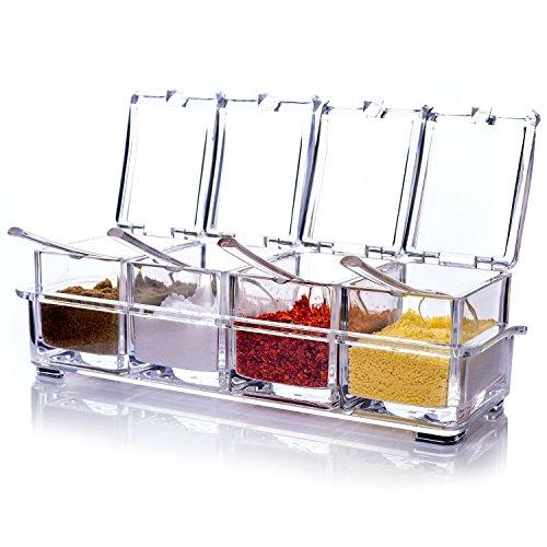 YunNasi Caja para Condimentos Acrílico para Cocina Cuatro en Uno Botes para Especias con Cucharas y Tapas Transparente
