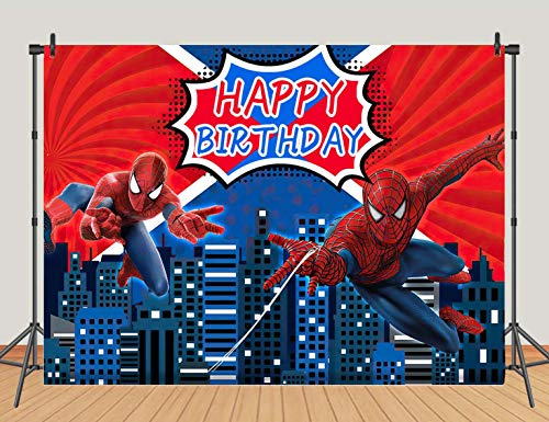 Superhero Red Spiderman Photography Backdrops Super City Boys Kids Birthday Party Photo Background Vinyl 5x3FT Blue Cityscape Decoration Banner Baby Shower Photo Booth Studio Props