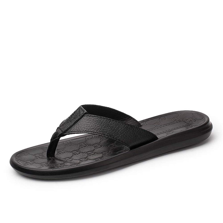男士革靴 夏のスリッパひもフリップフロップフラット本革ストラップ快適なビーチウォーキングシューズ 個性な (Color : ブラック, サイズ : 24 CM)