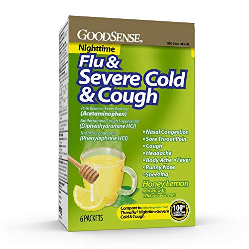 GoodSense Nighttime Severe Cold, Flu and Cough, Pain Reliever/Fever Reducer, Nasal Decongestant, Cough Suppressant, Antihistamine. Hot Liquid Therapy for Fast Relief, 6 Count