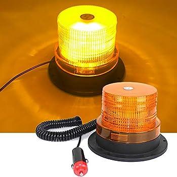 LED Beacon Light Hearkey Amber Strobe Lights Warning Emergency Safety Flashing Waterproof with Magnetic for Vehicle Forklift Truck Tractor 12V-24V 12LED